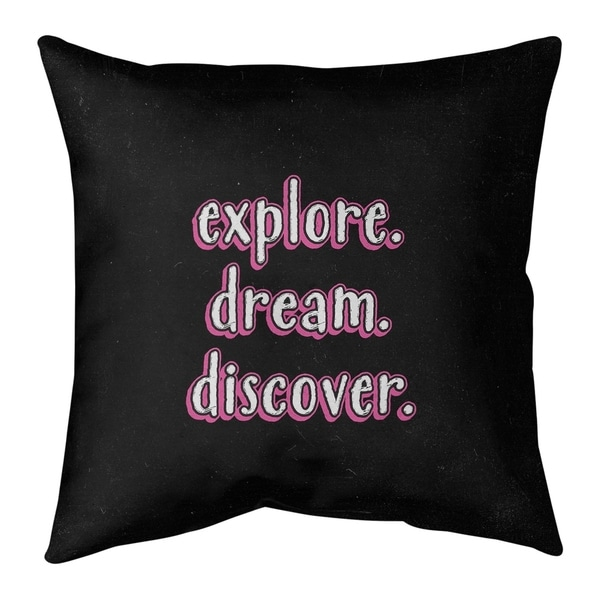 Quotes Explore Dream Discover Quote Chalkboard Style Floor Pillow - Standard