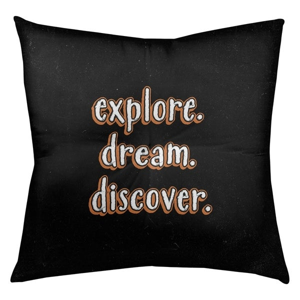 Quotes Explore Dream Discover Quote Chalkboard Style Floor Pillow - Square Tufted