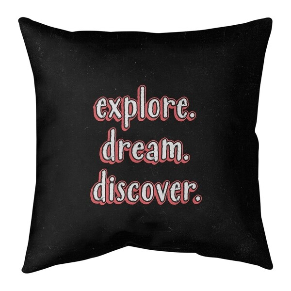 Quotes Explore Dream Discover Quote Chalkboard Style Pillow-Cotton Twill