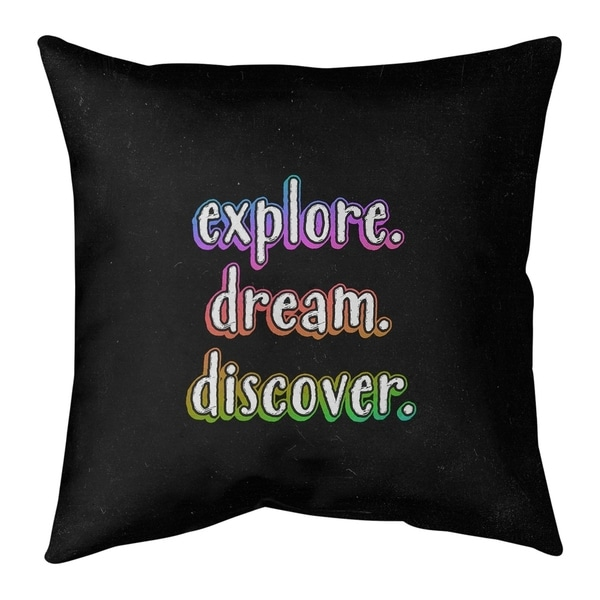 Quotes Explore Dream Discover Quote Chalkboard Style Pillow-Spun Polyester