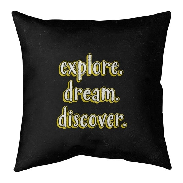Quotes Explore Dream Discover Quote Chalkboard Style Pillow-Faux Linen