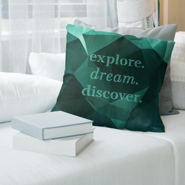 Quotes Faux Gemstone Explore Dream Discover Quote Pillow-Faux Linen