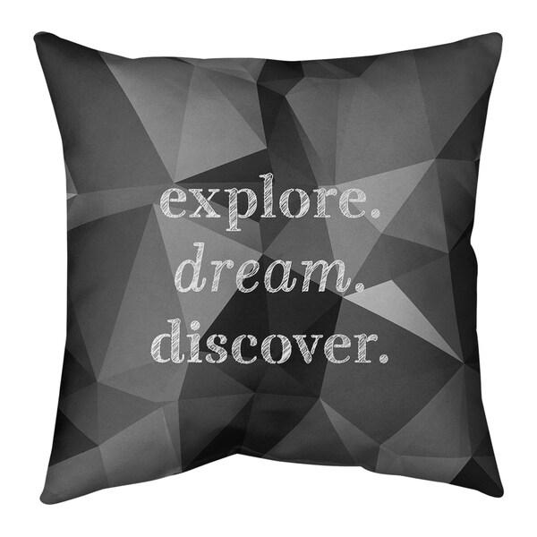 Quotes Faux Gemstone Explore Dream Discover Quote Pillow-Faux Linen