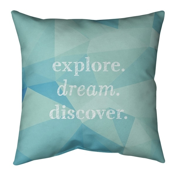 Quotes Faux Gemstone Explore Dream Discover Quote Pillow (w/Rmv Insert)-Spun Poly