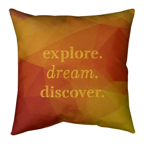 Quotes Faux Gemstone Explore Dream Discover Quote Pillow-Faux Suede