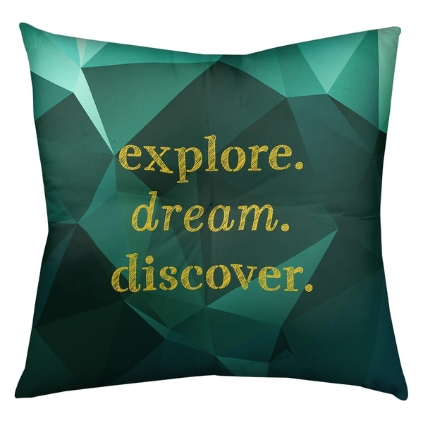 Quotes Faux Gemstone Explore Dream Discover Quote Floor Pillow - Square Tufted