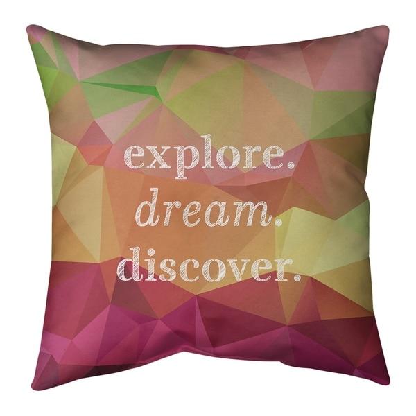 Quotes Faux Gemstone Explore Dream Discover Quote Pillow-Cotton Twill