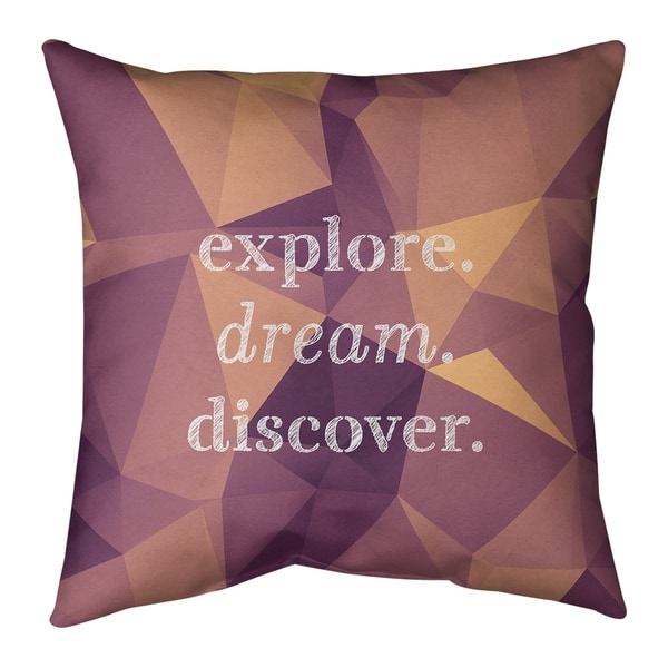 Quotes Faux Gemstone Explore Dream Discover Quote Pillow-Spun Polyester