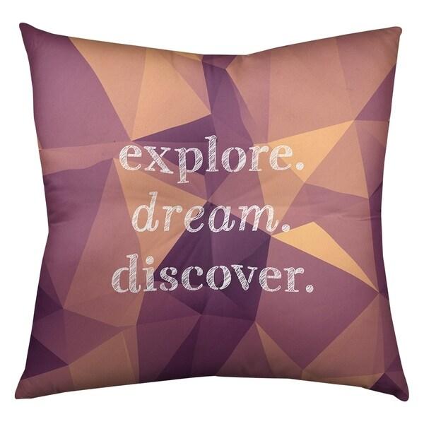 Quotes Faux Gemstone Explore Dream Discover Quote Floor Pillow - Square Tufted