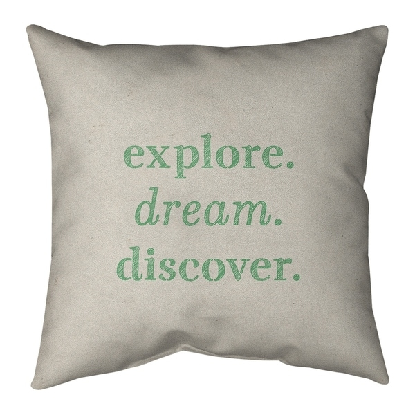 Quotes Handwritten Explore Dream Discover Quote Pillow-Spun Polyester