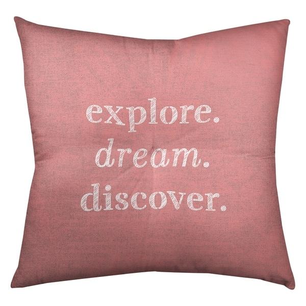 Quotes Handwritten Explore Dream Discover Quote Floor Pillow - Square Tufted