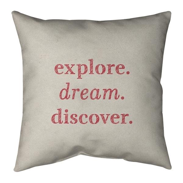Quotes Handwritten Explore Dream Discover Quote Pillow-Cotton Twill