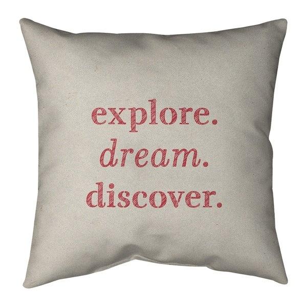 Quotes Handwritten Explore Dream Discover Quote Pillow-Faux Suede