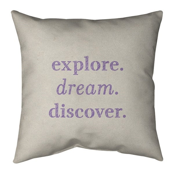Quotes Handwritten Explore Dream Discover Quote Pillow-Faux Suede