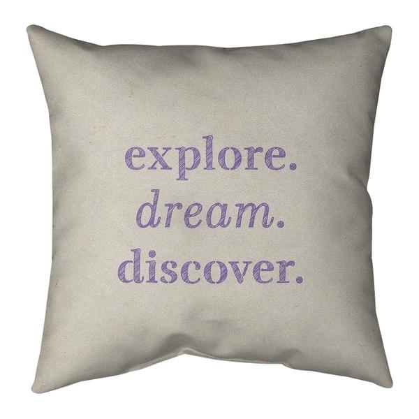 Quotes Handwritten Explore Dream Discover Quote Pillow-Faux Linen