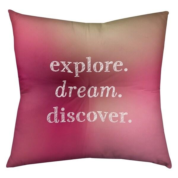 Quotes Multicolor Background Explore Dream Discover Quote Floor Pillow - Square Tufted