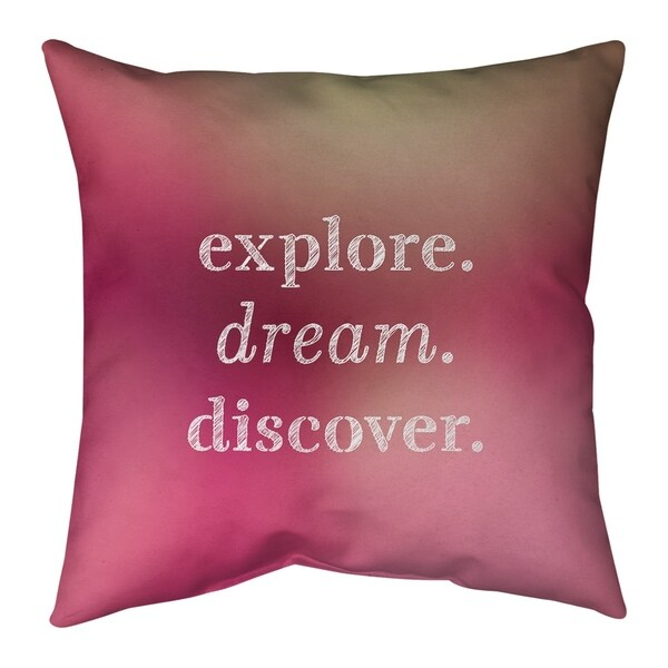 Quotes Multicolor Background Explore Dream Discover Quote Pillow-Cotton Twill