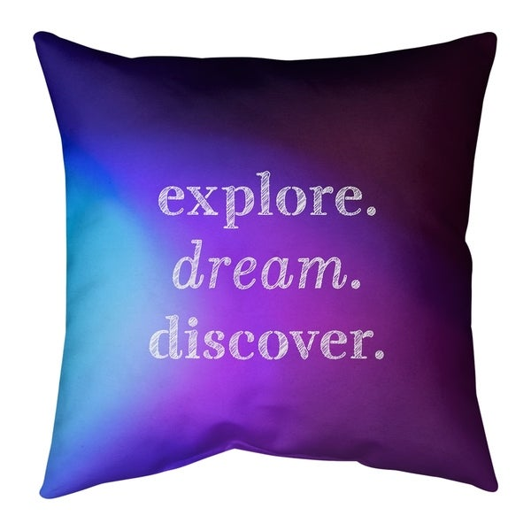 Quotes Multicolor Background Explore Dream Discover Quote Pillow (Indoor/Outdoor)