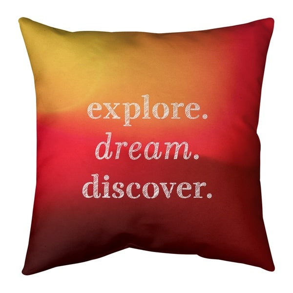 Quotes Multicolor Background Explore Dream Discover Quote Pillow (w/Rmv Insert)-Spun Poly