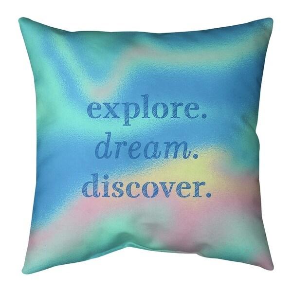 Quotes Multicolor Background Explore Dream Discover Quote Pillow-Faux Linen