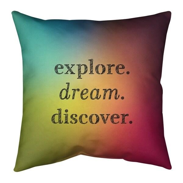 Quotes Multicolor Background Explore Dream Discover Quote Floor Pillow - Standard