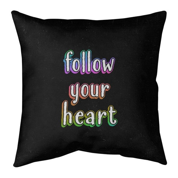 Quotes Follow Your Heart Quote Chalkboard Style Pillow (w/Rmv Insert)-Spun Poly