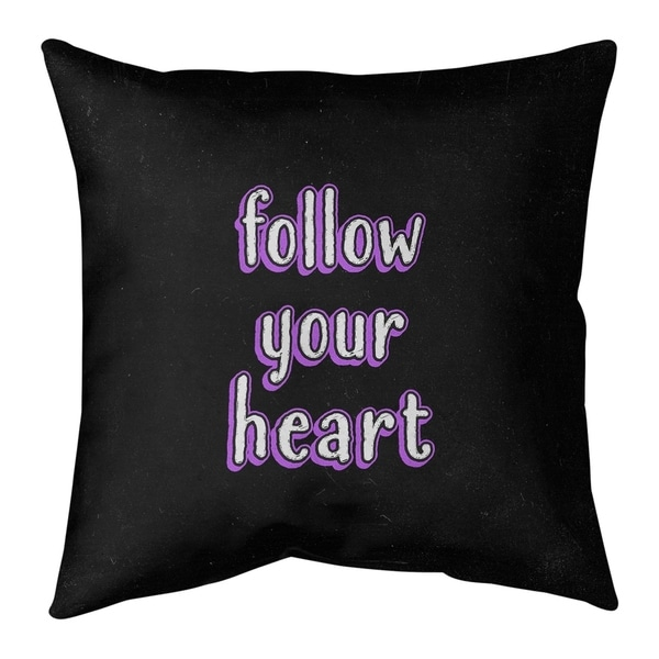 Quotes Follow Your Heart Quote Chalkboard Style Floor Pillow - Standard