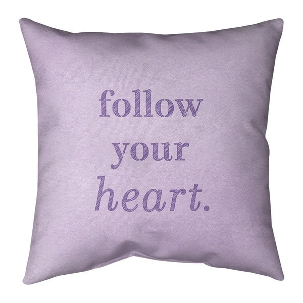 Quotes Handwritten Follow Your Heart Quote Pillow-Faux Suede