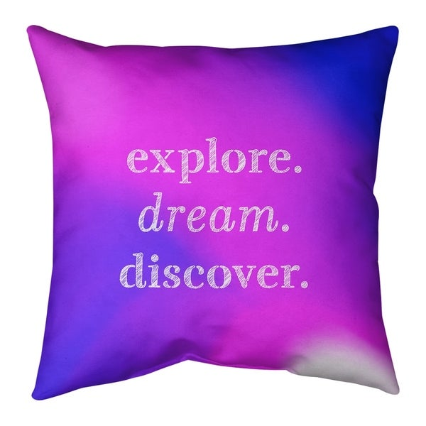 Quotes Multicolor Background Explore Dream Discover Quote Pillow-Faux Suede
