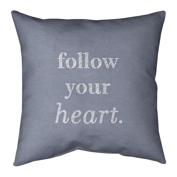 Quotes Handwritten Follow Your Heart Quote Pillow (Indoor/Outdoor)