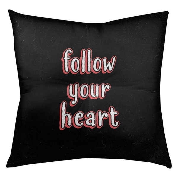 Quotes Follow Your Heart Quote Chalkboard Style Floor Pillow - Square Tufted