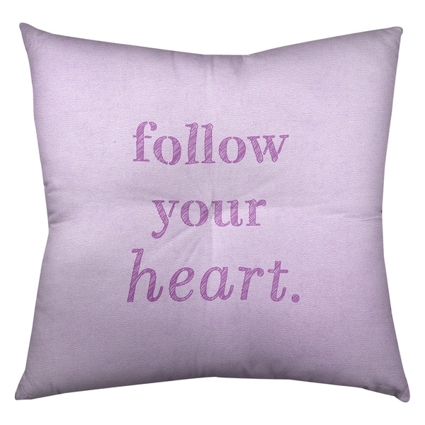 Quotes Handwritten Follow Your Heart Quote Floor Pillow - Square Tufted