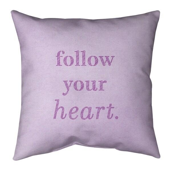 Quotes Handwritten Follow Your Heart Quote Pillow (w/Rmv Insert)-Spun Poly