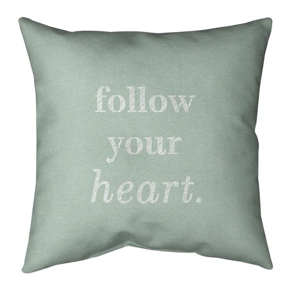 Quotes Handwritten Follow Your Heart Quote Pillow-Faux Linen