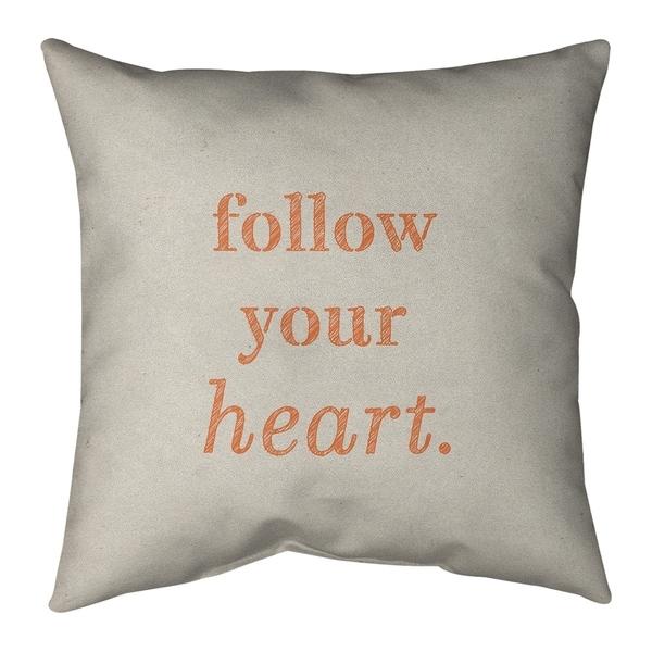 Quotes Handwritten Follow Your Heart Quote Pillow-Spun Polyester