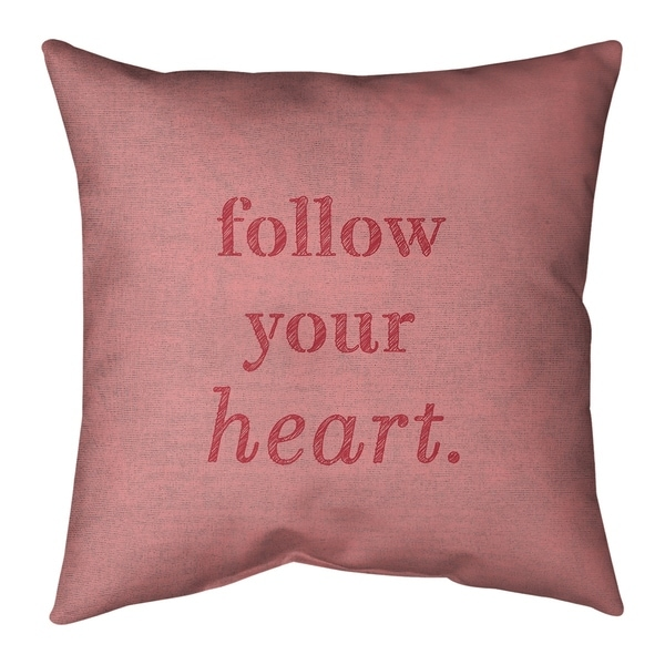 Quotes Handwritten Follow Your Heart Quote Pillow-Spun Polyester