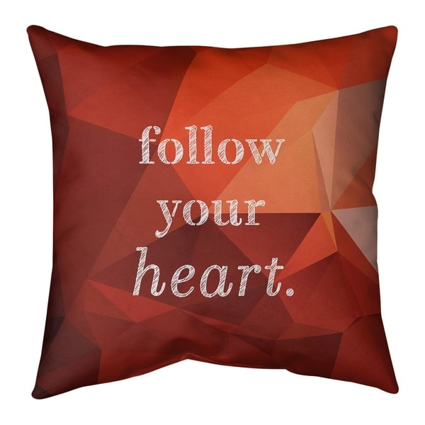 Quotes Faux Gemstone Follow Your Heart Quote Pillow-Cotton Twill