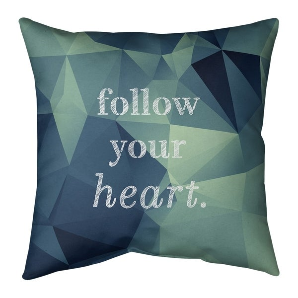 Quotes Faux Gemstone Follow Your Heart Quote Pillow-Faux Suede