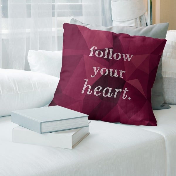 Quotes Faux Gemstone Follow Your Heart Quote Floor Pillow - Standard