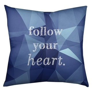 Quotes Faux Gemstone Follow Your Heart Quote Floor Pillow - Square Tufted