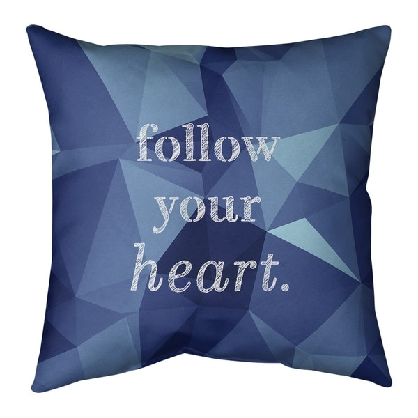 Quotes Faux Gemstone Follow Your Heart Quote Pillow (Indoor/Outdoor)
