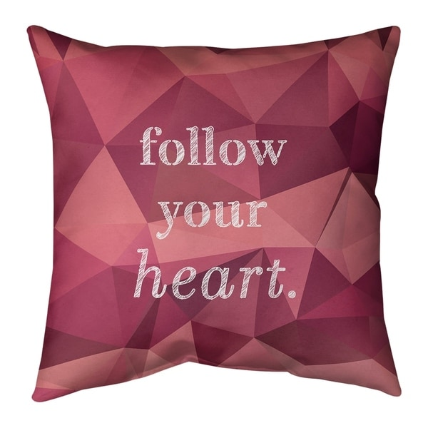 Quotes Faux Gemstone Follow Your Heart Quote Pillow (w/Rmv Insert)-Spun Poly