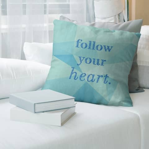 Quotes Faux Gemstone Follow Your Heart Quote Pillow-Faux Linen