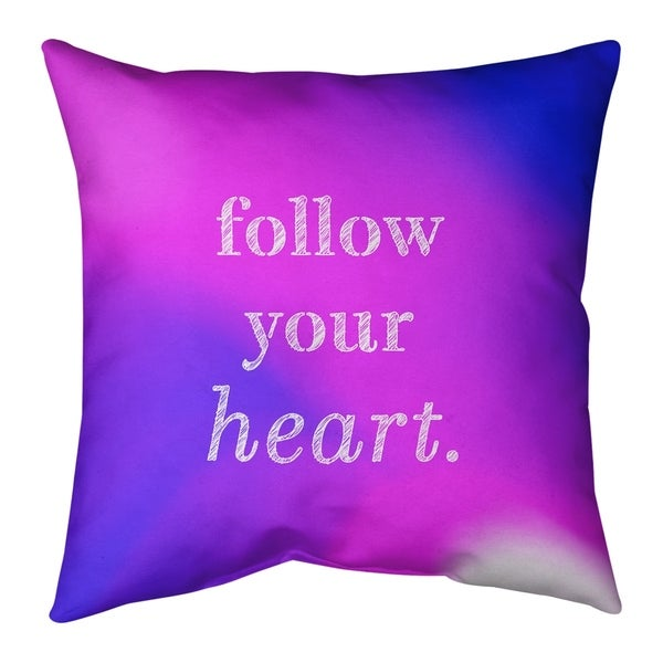 Quotes Multicolor Background Follow Your Heart Quote Pillow-Faux Linen