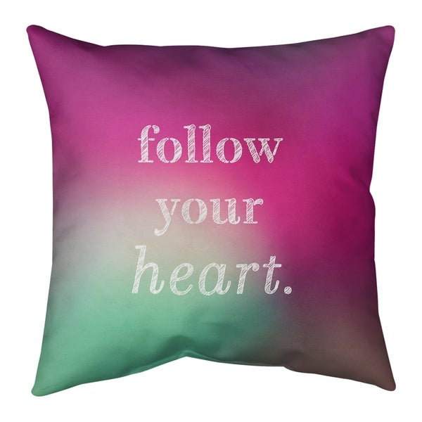 Quotes Multicolor Background Follow Your Heart Quote Pillow-Cotton Twill