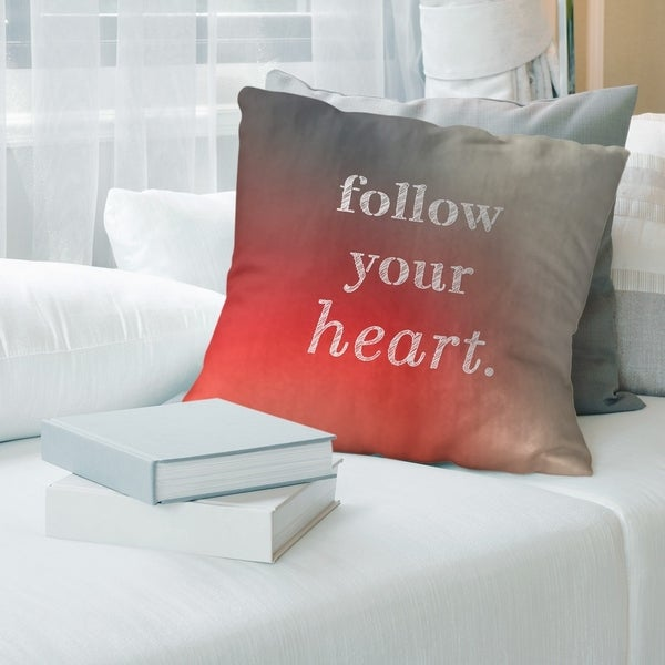 Quotes Multicolor Background Follow Your Heart Quote Pillow-Faux Linen