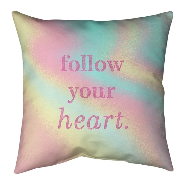 Quotes Multicolor Background Follow Your Heart Quote Pillow (w/Rmv Insert)-Spun Poly
