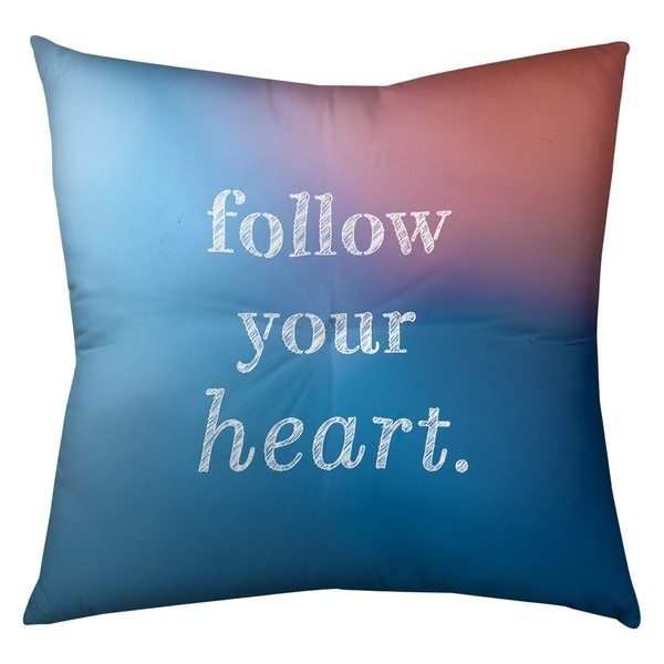 Quotes Multicolor Background Follow Your Heart Quote Floor Pillow - Square Tufted