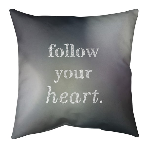 Quotes Multicolor Background Follow Your Heart Quote Pillow-Spun Polyester
