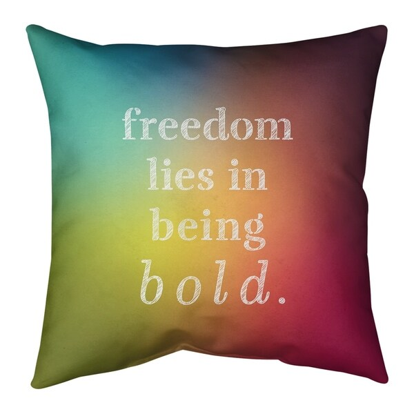 Quotes Multicolor Background Be Bold Inspirational Quote Pillow (w/Rmv Insert)-Spun Poly